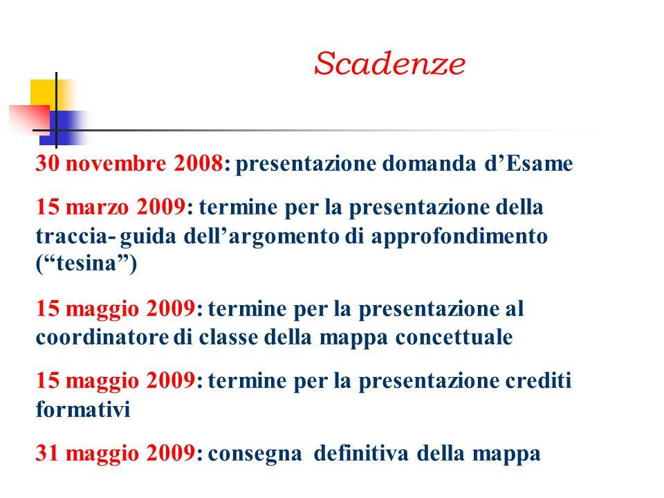 Scadenze 30 novembre 2008: presentazione domanda d'Esame