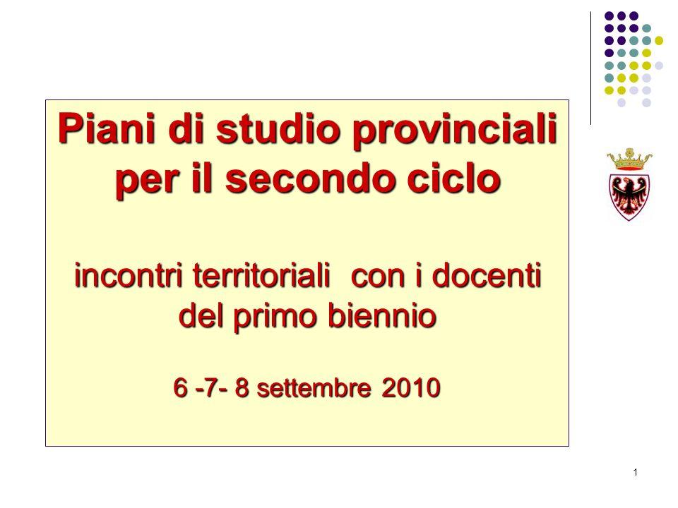 Piani di studio provinciali per il secondo ciclo incontri territoriali con i docenti del primo biennio 6 -7- 8 settembre 2010