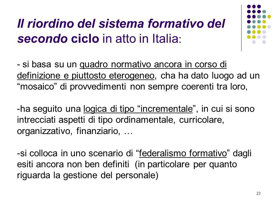 Il riordino del sistema formativo del secondo ciclo in atto in Italia: