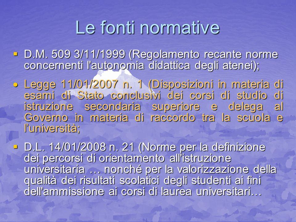 Le fonti normative D.M. 509 3/11/1999 (Regolamento recante norme concernenti l autonomia didattica degli atenei);