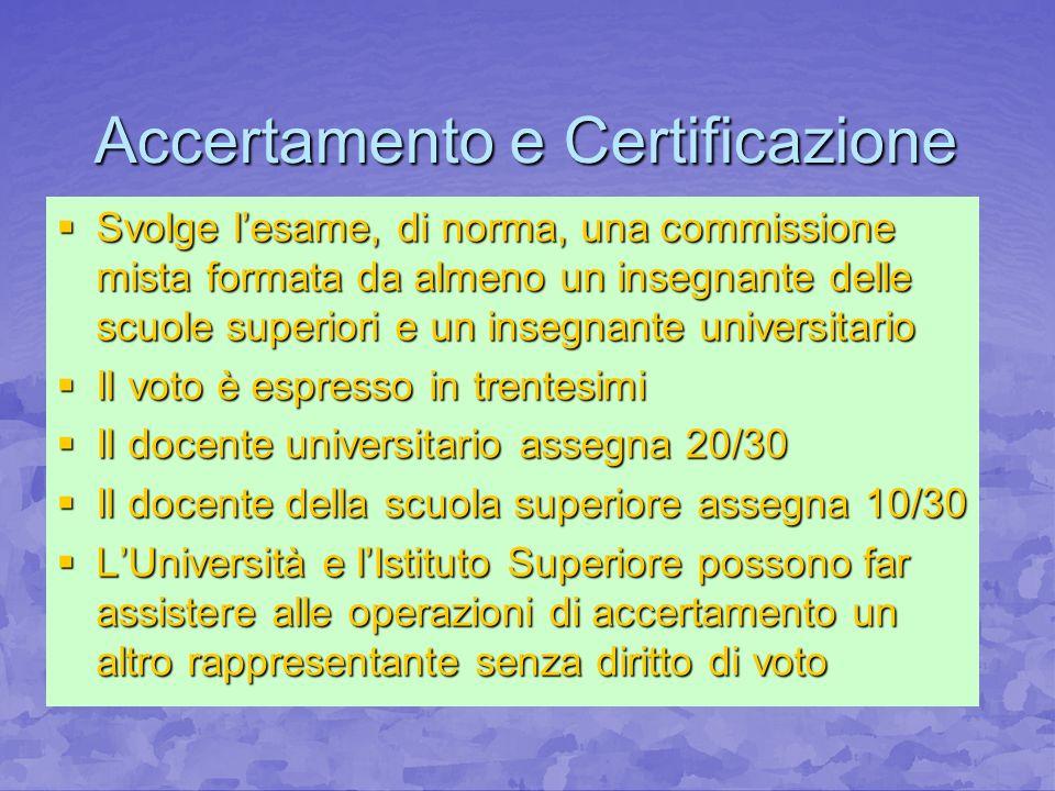 Accertamento e Certificazione