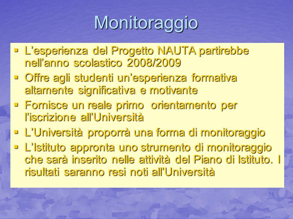Monitoraggio L'esperienza del Progetto NAUTA partirebbe nell'anno scolastico 2008/2009.