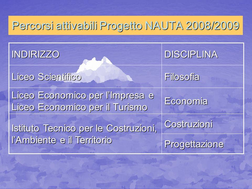 Percorsi attivabili Progetto NAUTA 2008/2009