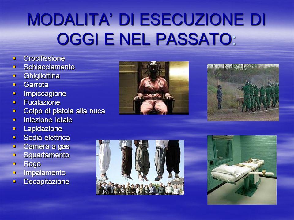 MODALITA' DI ESECUZIONE DI OGGI E NEL PASSATO: