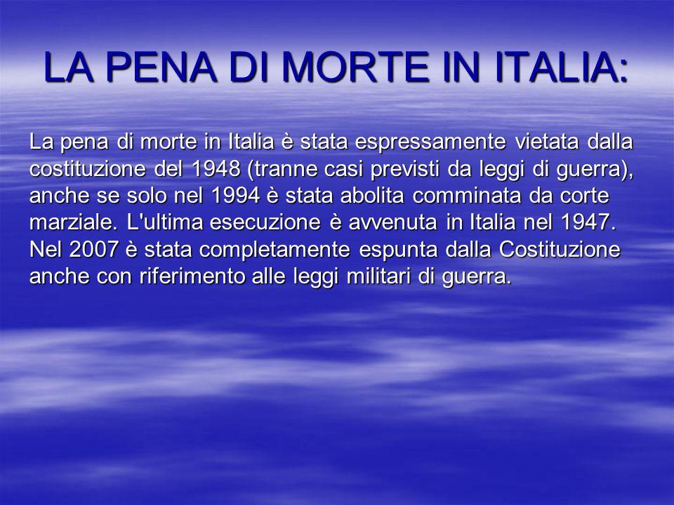 LA PENA DI MORTE IN ITALIA: