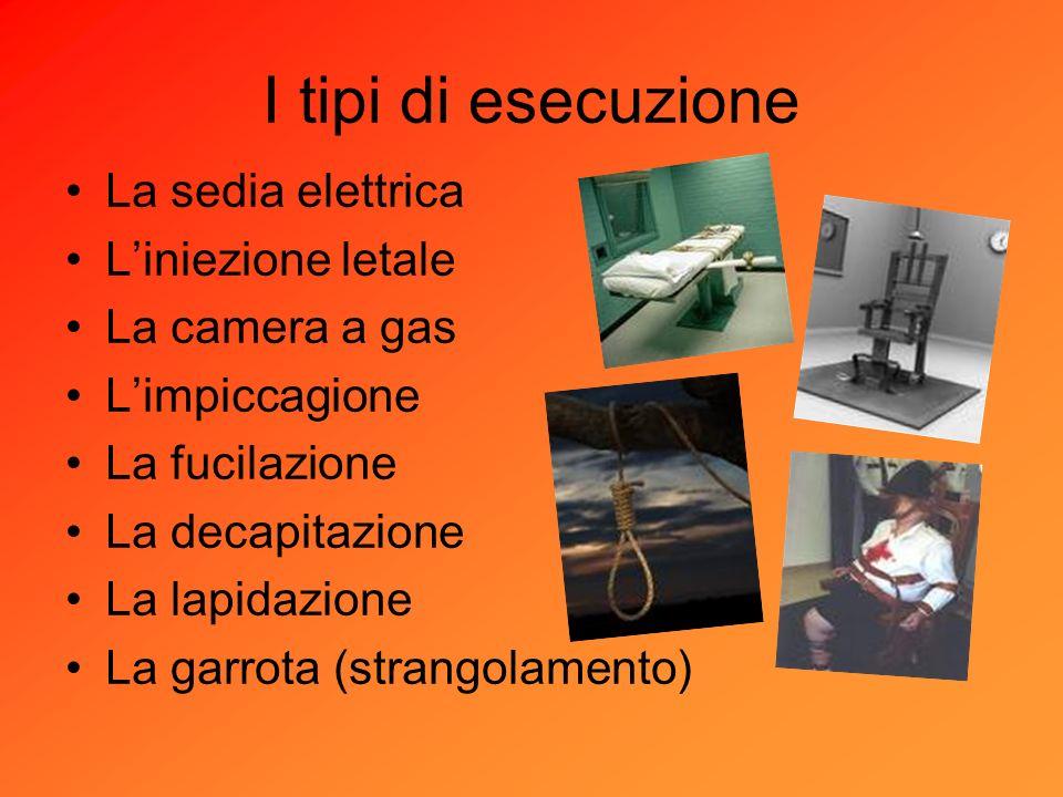 I tipi di esecuzione La sedia elettrica L'iniezione letale