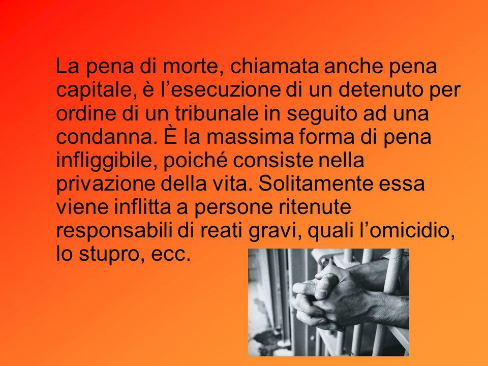 La pena di morte, chiamata anche pena capitale, è l'esecuzione di un detenuto per ordine di un tribunale in seguito ad una condanna.