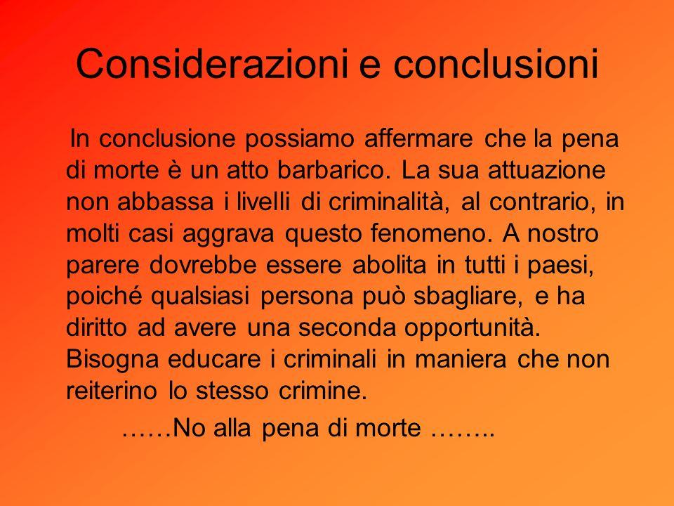 Considerazioni e conclusioni