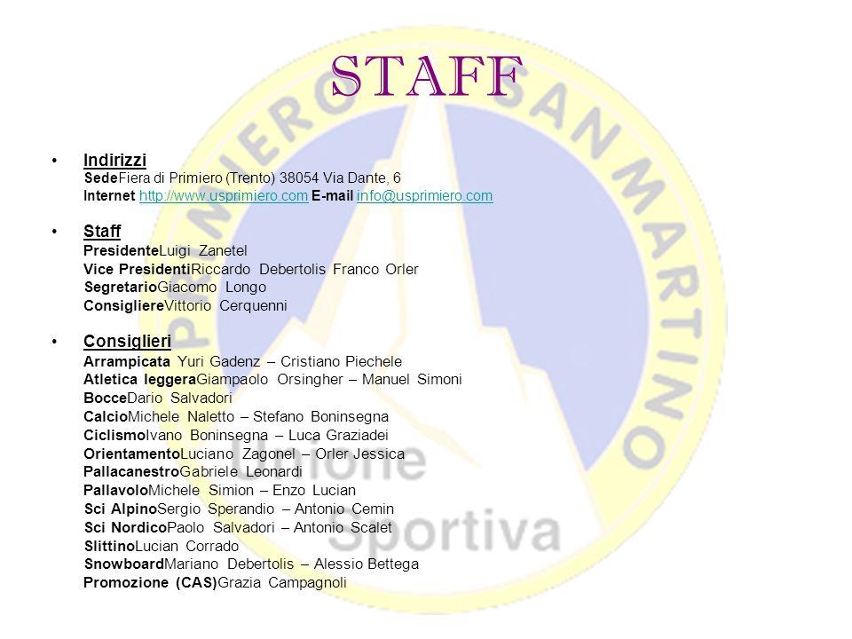 STAFF Indirizzi Staff Consiglieri