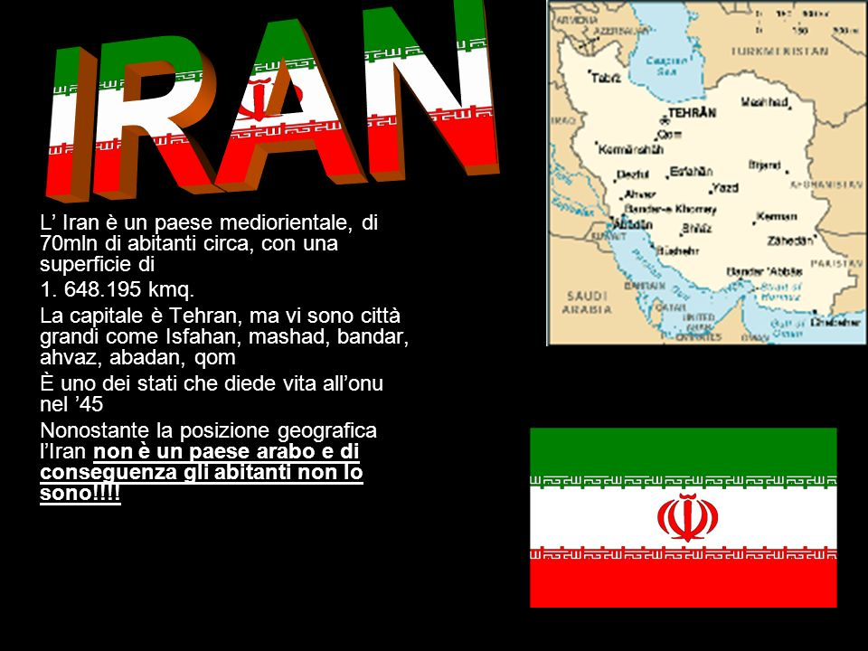 IRAN L' Iran è un paese mediorientale, di 70mln di abitanti circa, con una superficie di. 1. 648.195 kmq.