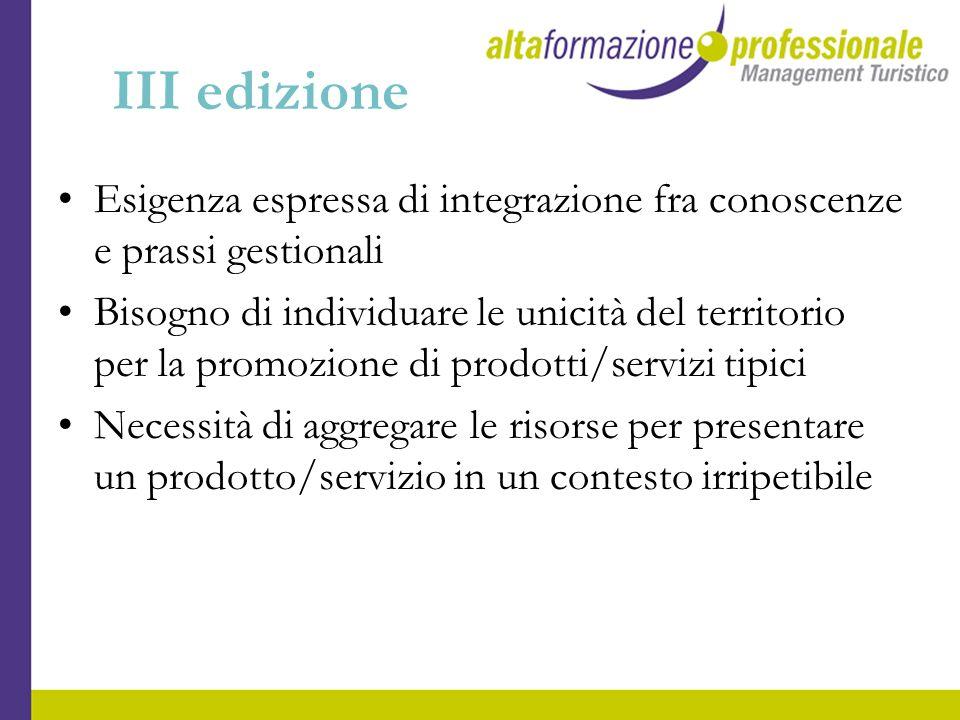 III edizione Esigenza espressa di integrazione fra conoscenze e prassi gestionali.