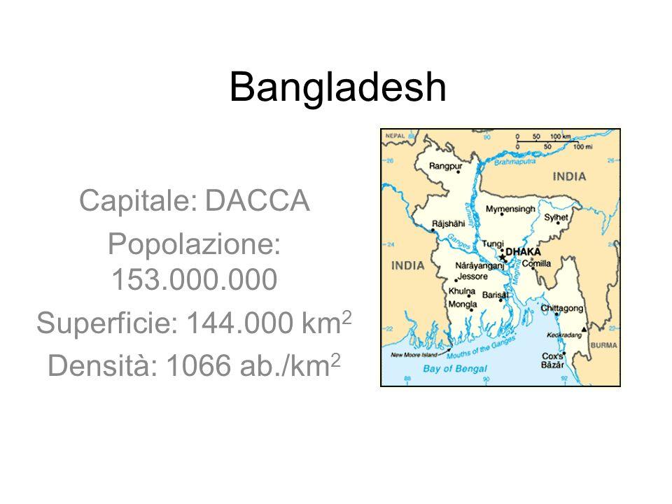 Bangladesh Capitale: DACCA Popolazione: 153.000.000