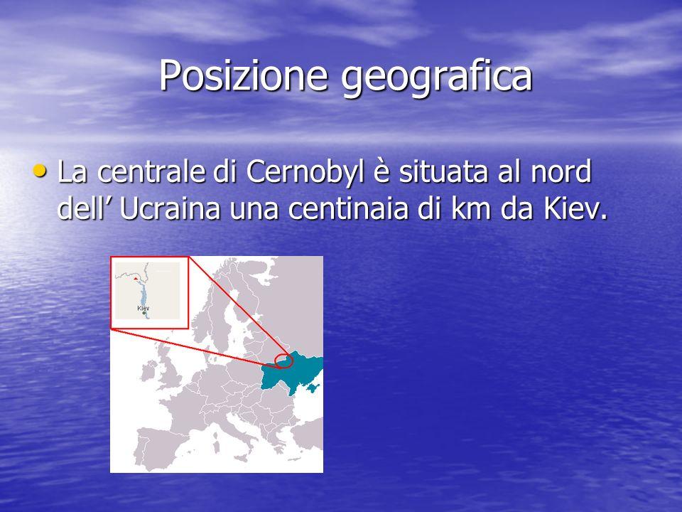 Posizione geografica La centrale di Cernobyl è situata al nord dell' Ucraina una centinaia di km da Kiev.
