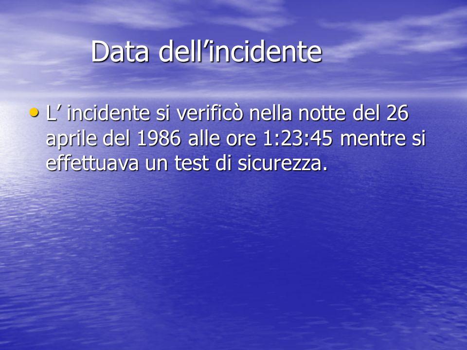 Data dell'incidente L' incidente si verificò nella notte del 26 aprile del 1986 alle ore 1:23:45 mentre si effettuava un test di sicurezza.