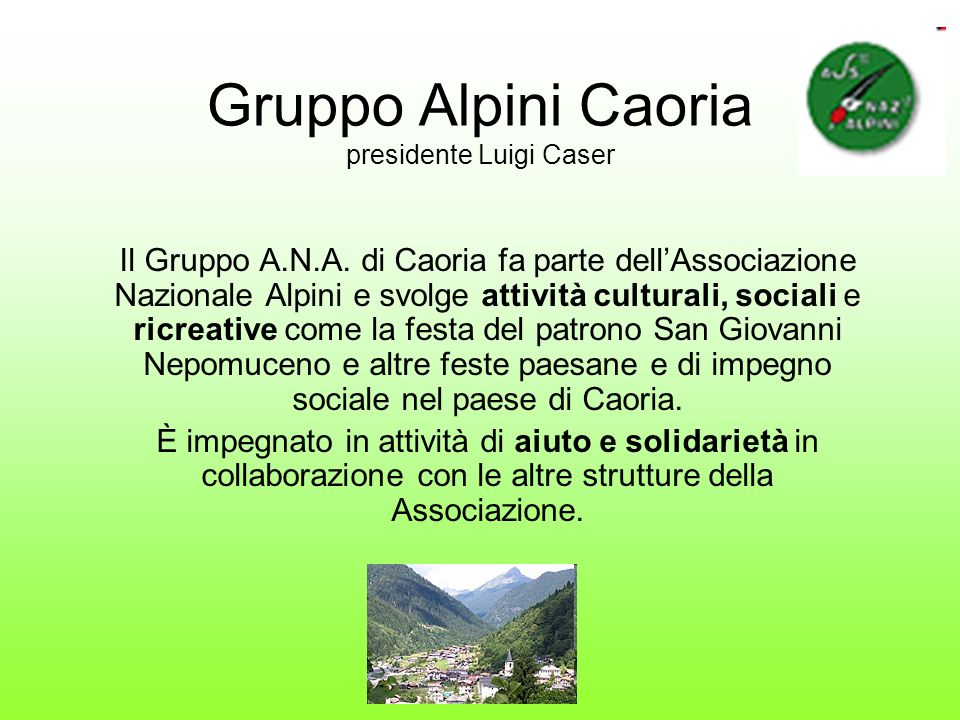 Gruppo Alpini Caoria presidente Luigi Caser
