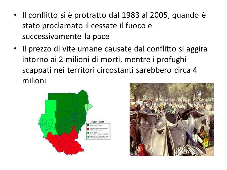 Il conflitto si è protratto dal 1983 al 2005, quando è stato proclamato il cessate il fuoco e successivamente la pace