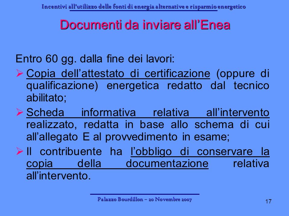 Documenti da inviare all'Enea