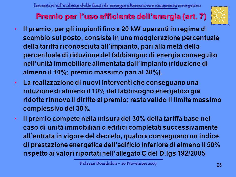 Premio per l'uso efficiente dell'energia (art. 7)