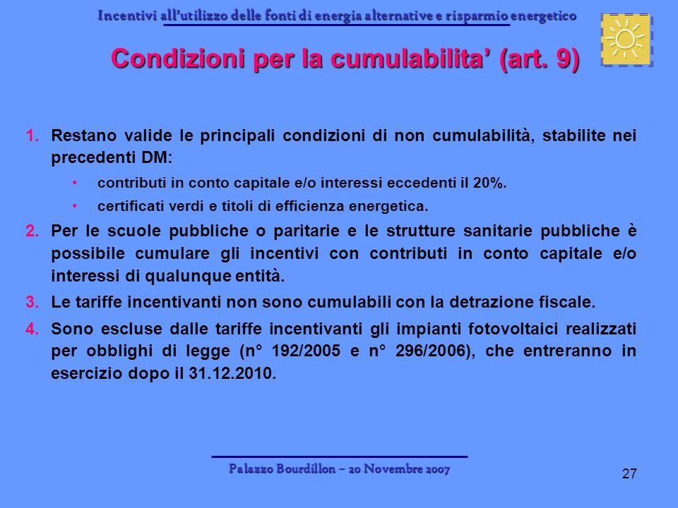 Condizioni per la cumulabilita' (art. 9)