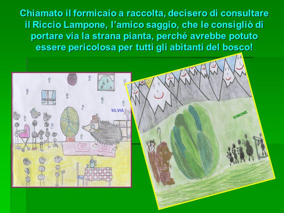 Chiamato il formicaio a raccolta, decisero di consultare il Riccio Lampone, l'amico saggio, che le consigliò di portare via la strana pianta, perché avrebbe potuto essere pericolosa per tutti gli abitanti del bosco!