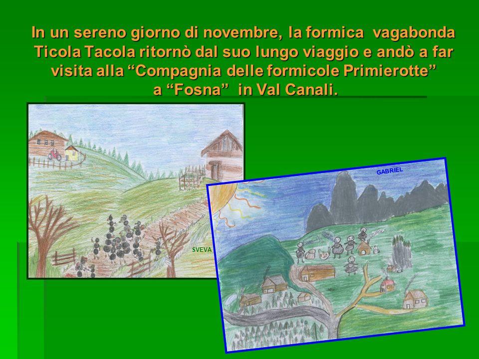 In un sereno giorno di novembre, la formica vagabonda Ticola Tacola ritornò dal suo lungo viaggio e andò a far visita alla Compagnia delle formicole Primierotte a Fosna in Val Canali.