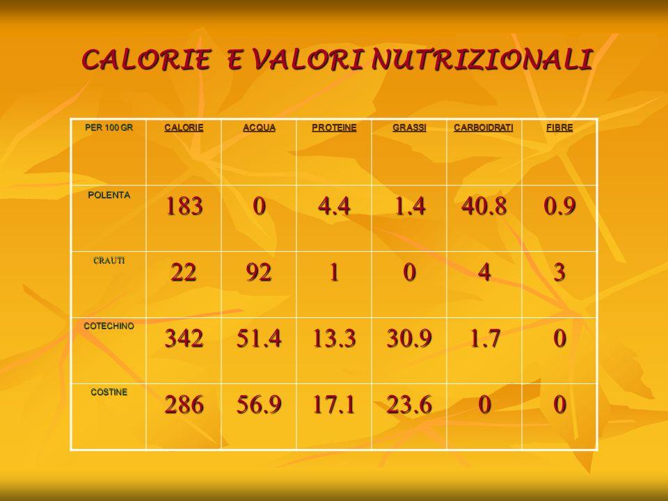 CALORIE E VALORI NUTRIZIONALI