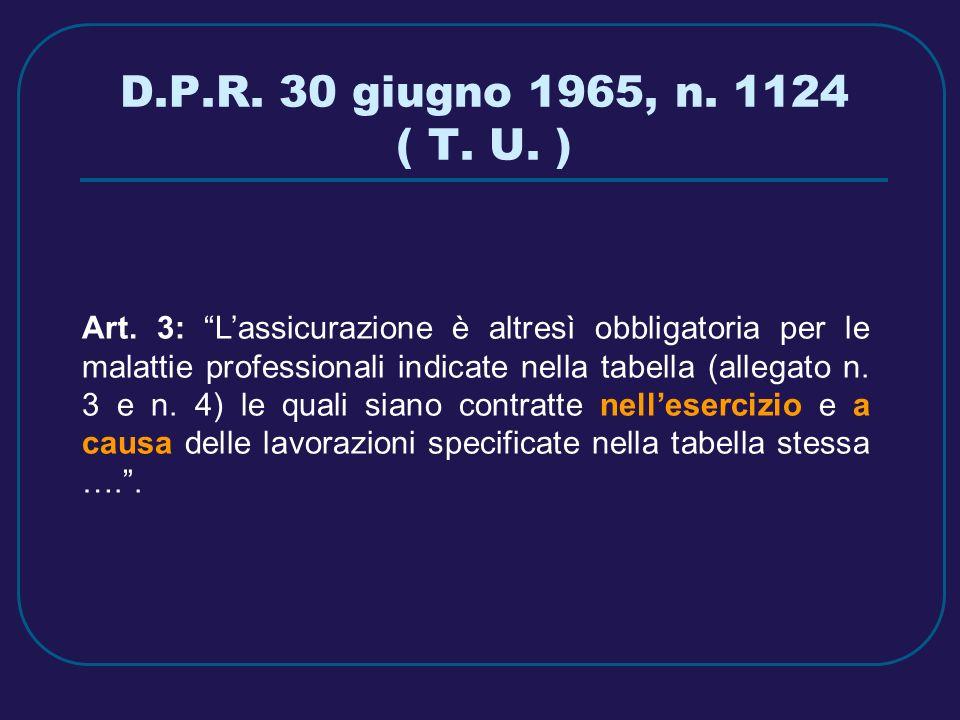 D.P.R. 30 giugno 1965, n. 1124 ( T. U. )