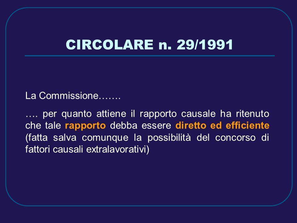 CIRCOLARE n. 29/1991 La Commissione…….