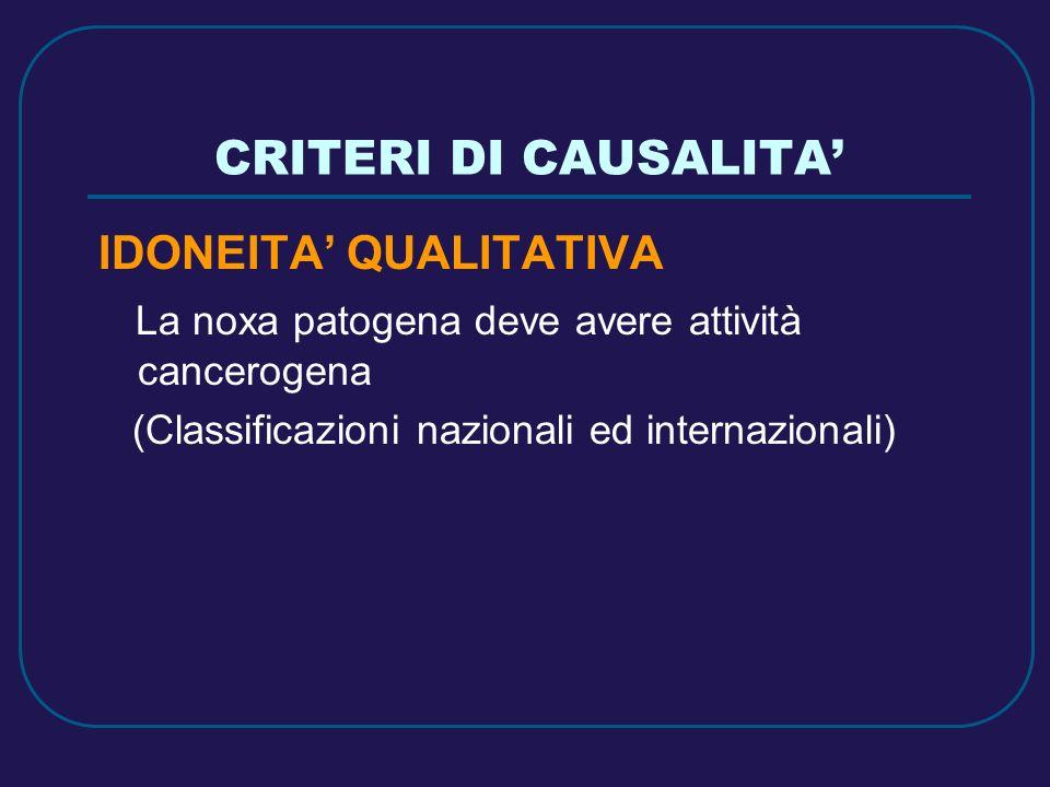 CRITERI DI CAUSALITA' IDONEITA' QUALITATIVA