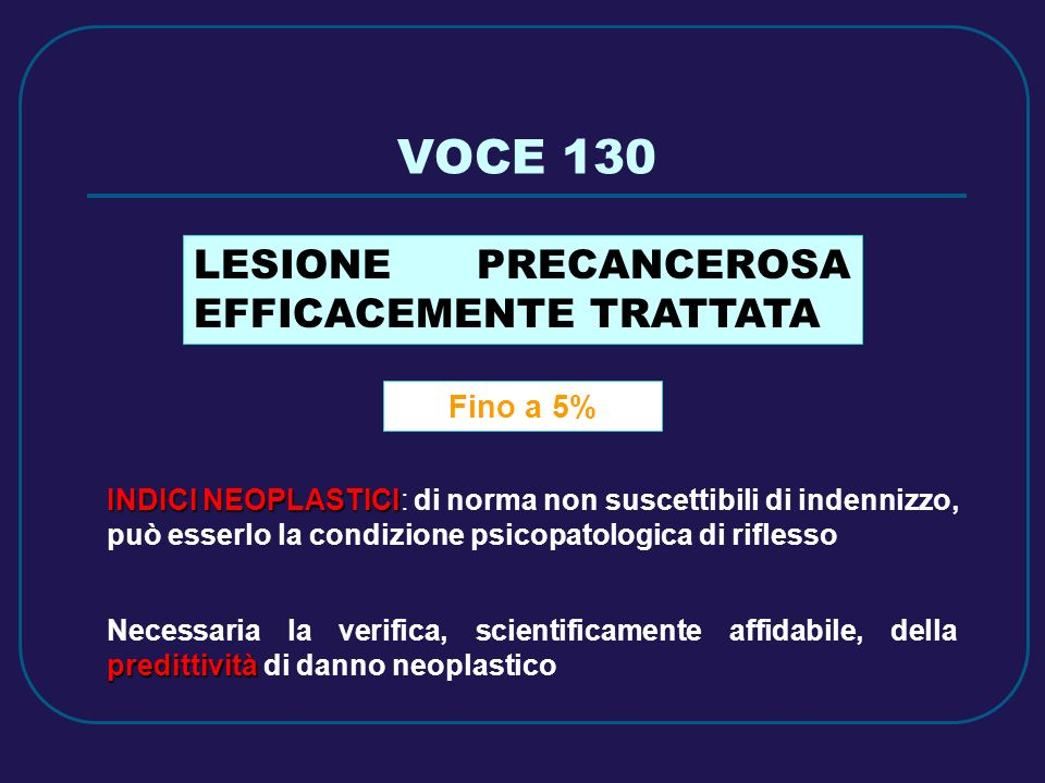 VOCE 130 LESIONE PRECANCEROSA EFFICACEMENTE TRATTATA Fino a 5%