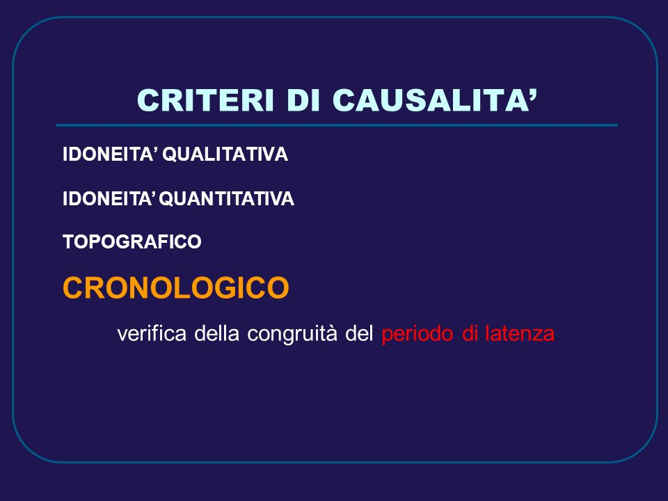 CRITERI DI CAUSALITA' CRONOLOGICO IDONEITA' QUANTITATIVA