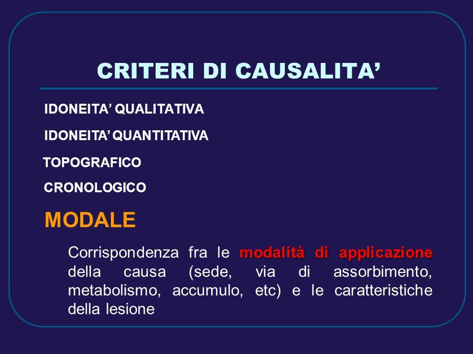 CRITERI DI CAUSALITA' MODALE