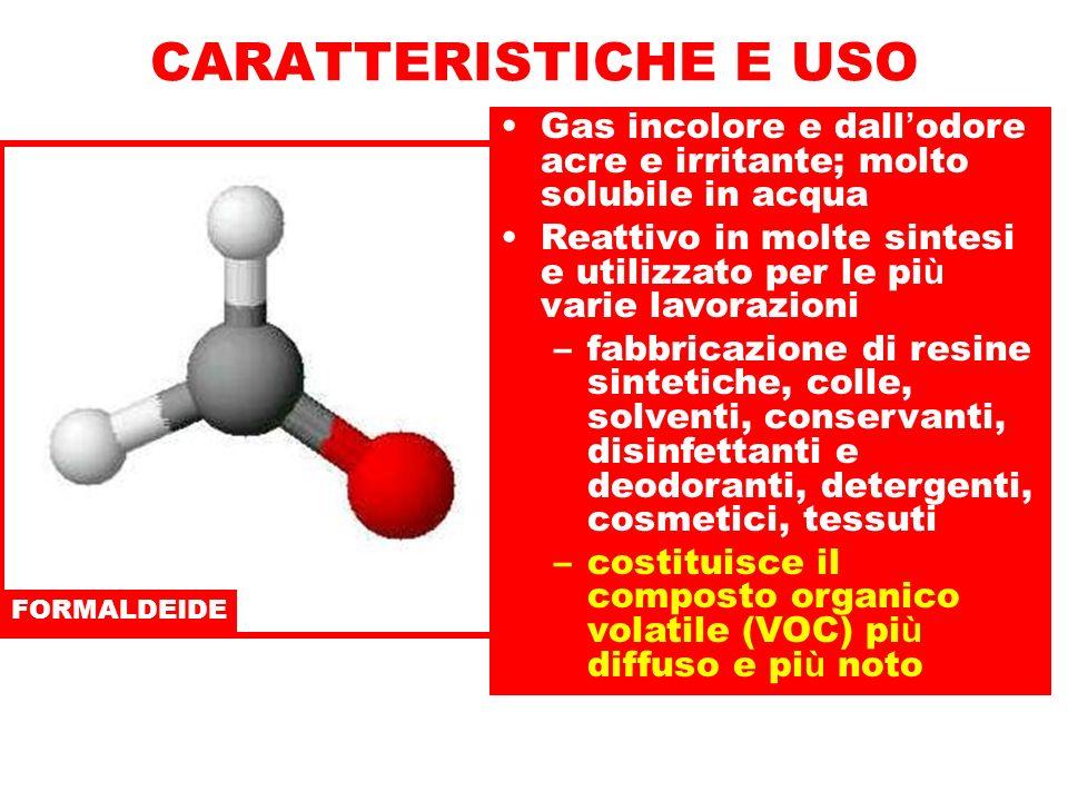 CARATTERISTICHE E USO Gas incolore e dall'odore acre e irritante; molto solubile in acqua.