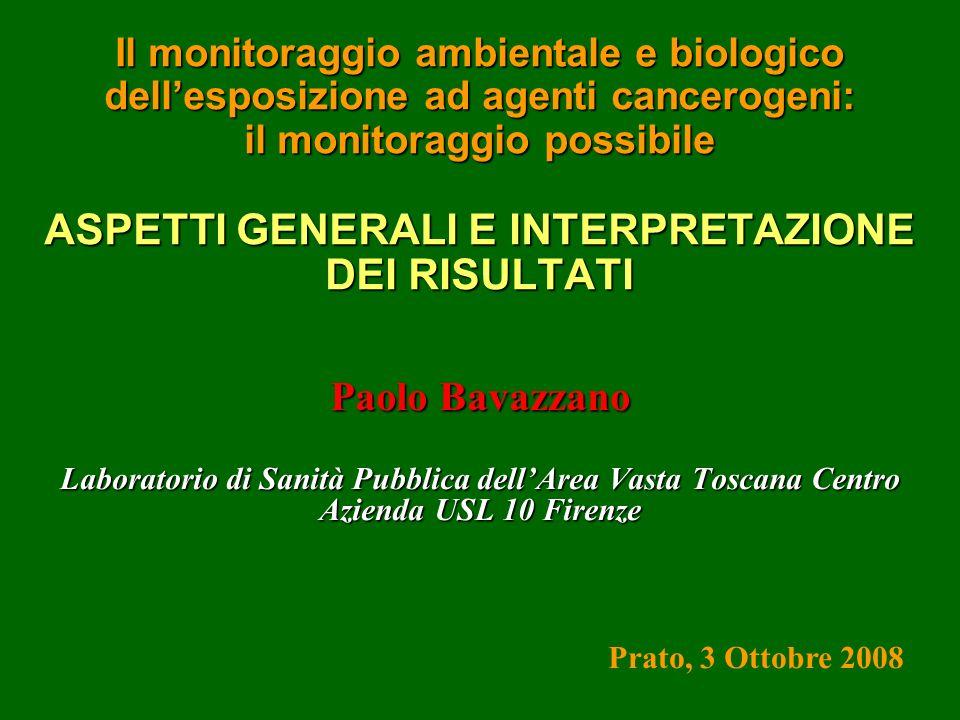 Il monitoraggio ambientale e biologico dell'esposizione ad agenti cancerogeni: il monitoraggio possibile ASPETTI GENERALI E INTERPRETAZIONE DEI RISULTATI