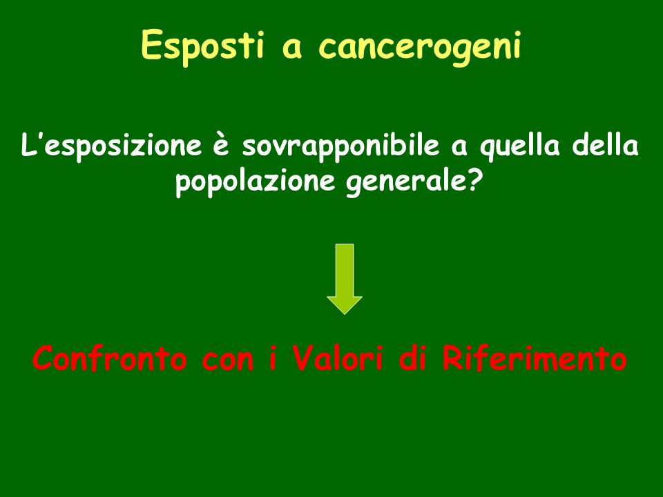 Esposti a cancerogeni Confronto con i Valori di Riferimento