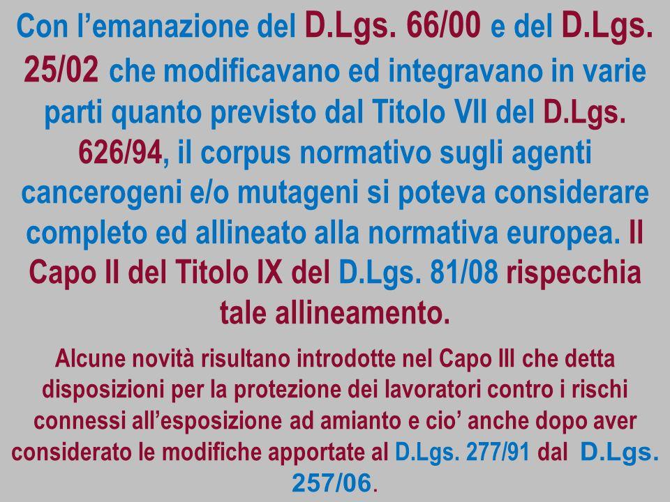 Con l'emanazione del D. Lgs. 66/00 e del D. Lgs