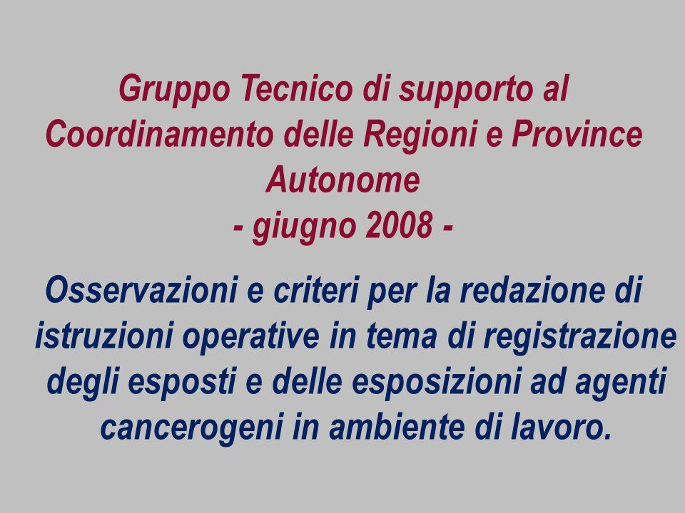 Gruppo Tecnico di supporto al Coordinamento delle Regioni e Province Autonome - giugno 2008 -
