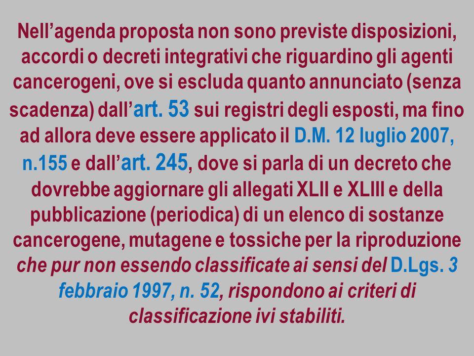 Nell'agenda proposta non sono previste disposizioni, accordi o decreti integrativi che riguardino gli agenti cancerogeni, ove si escluda quanto annunciato (senza scadenza) dall'art.