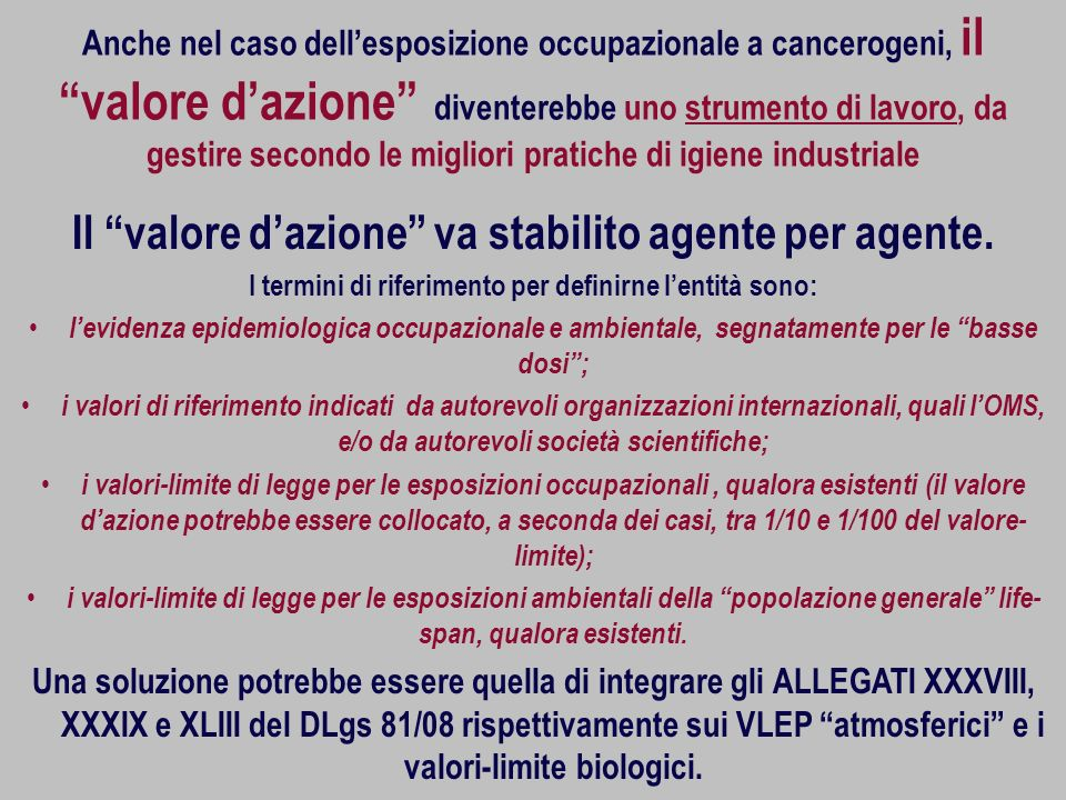 Il valore d'azione va stabilito agente per agente.