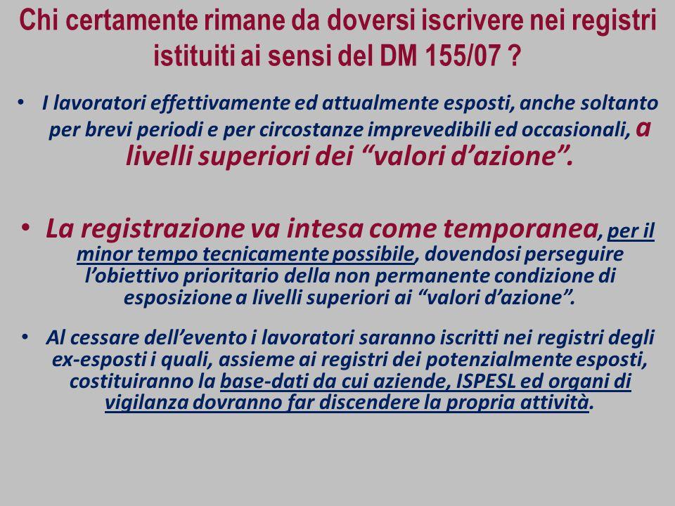 Chi certamente rimane da doversi iscrivere nei registri istituiti ai sensi del DM 155/07