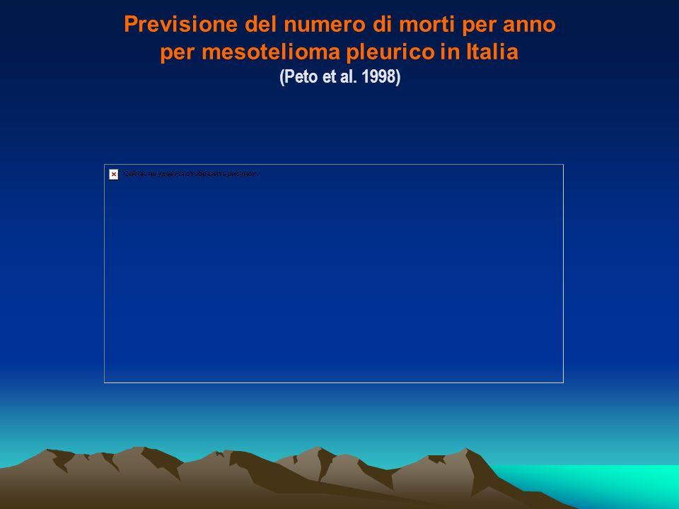 Previsione del numero di morti per anno per mesotelioma pleurico in Italia (Peto et al. 1998)
