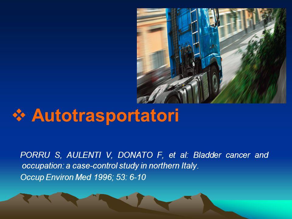 Autotrasportatori PORRU S, AULENTI V, DONATO F, et al: Bladder cancer and occupation: a case-control study in northern Italy.
