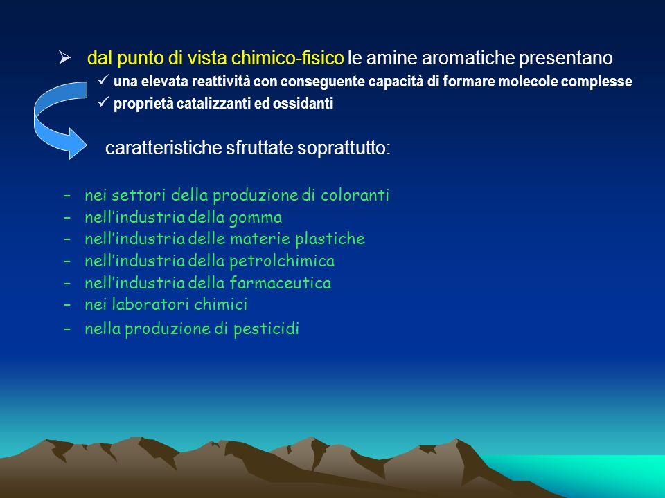 dal punto di vista chimico-fisico le amine aromatiche presentano