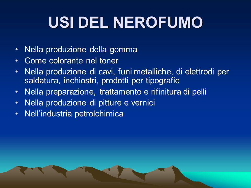USI DEL NEROFUMO Nella produzione della gomma Come colorante nel toner