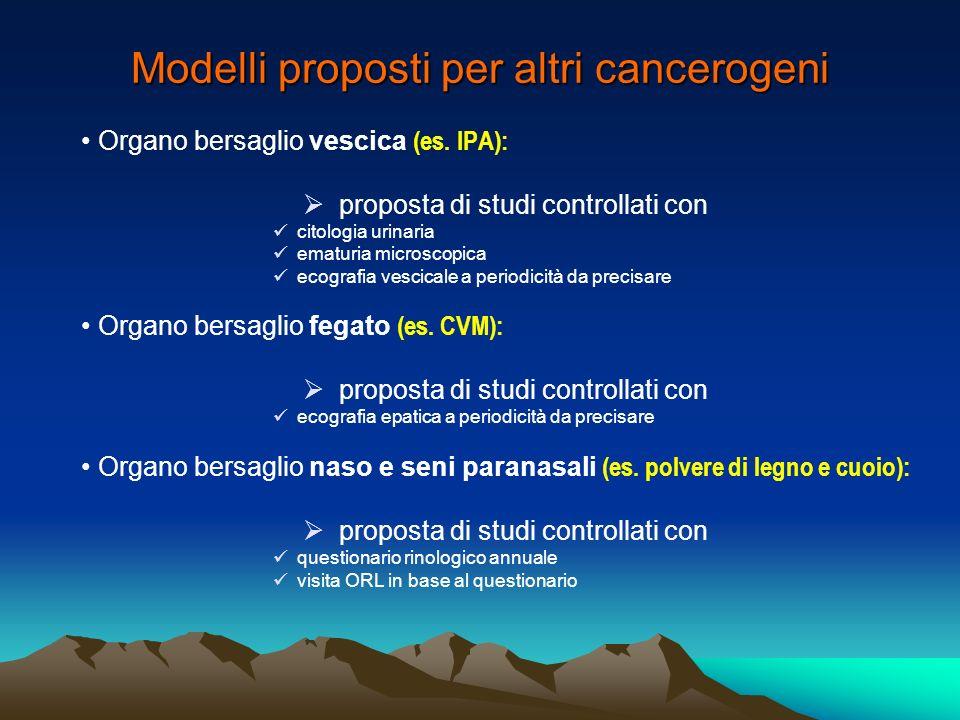 Modelli proposti per altri cancerogeni