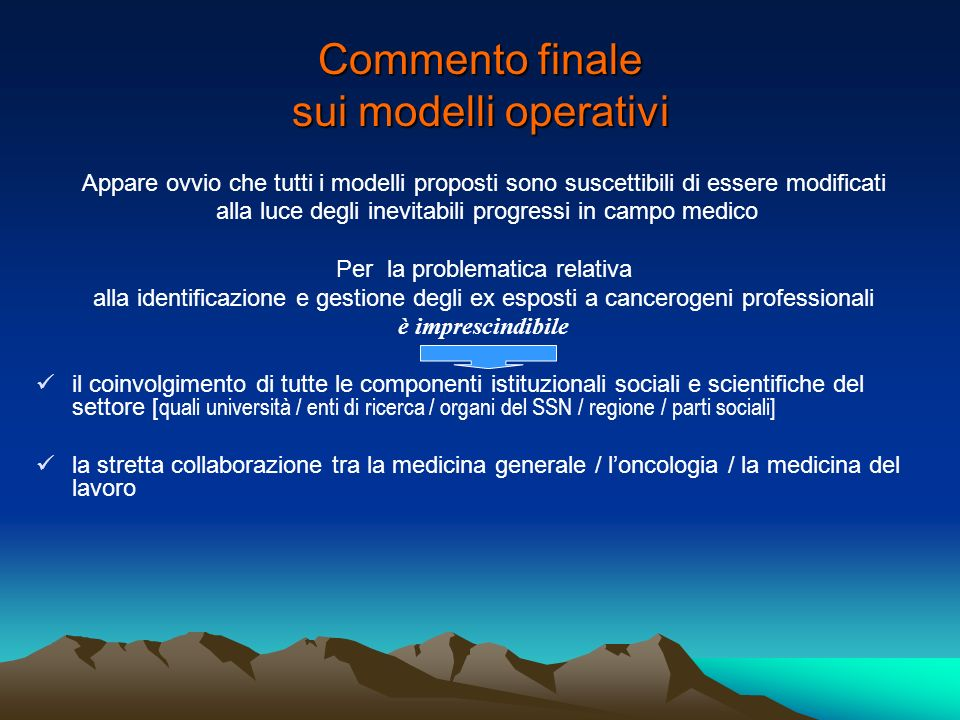 Commento finale sui modelli operativi