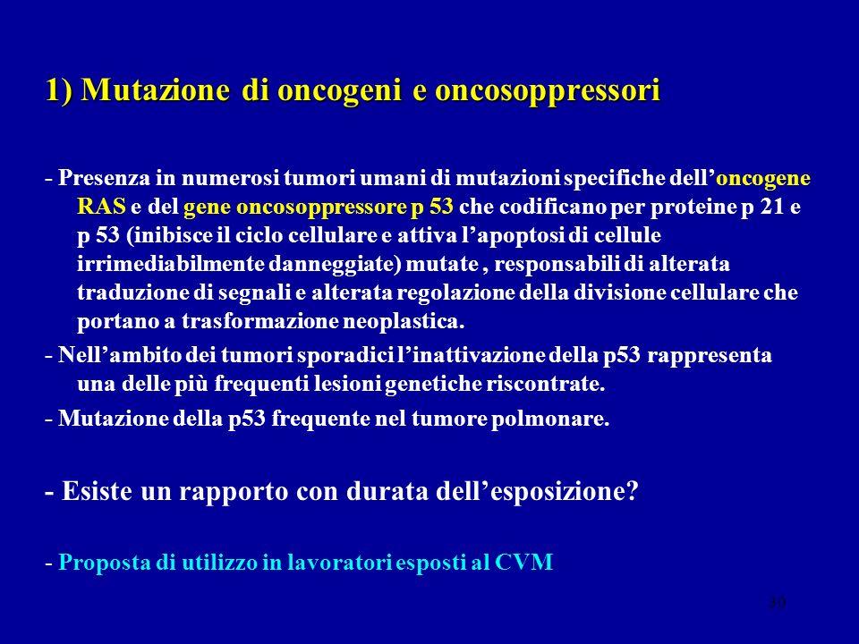 1) Mutazione di oncogeni e oncosoppressori