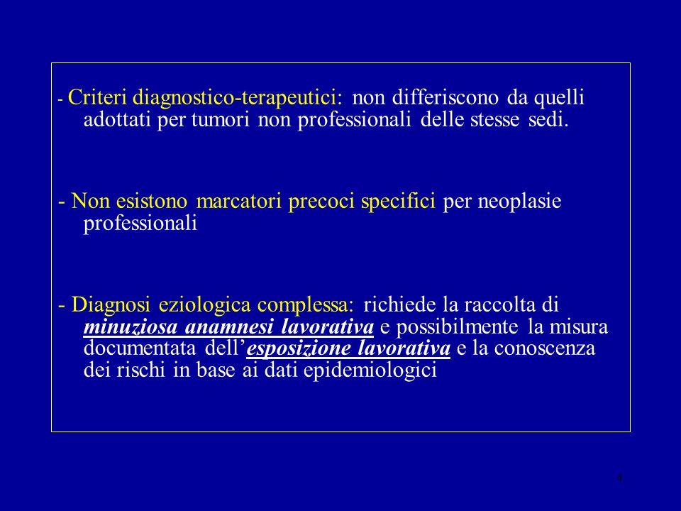 - Non esistono marcatori precoci specifici per neoplasie professionali