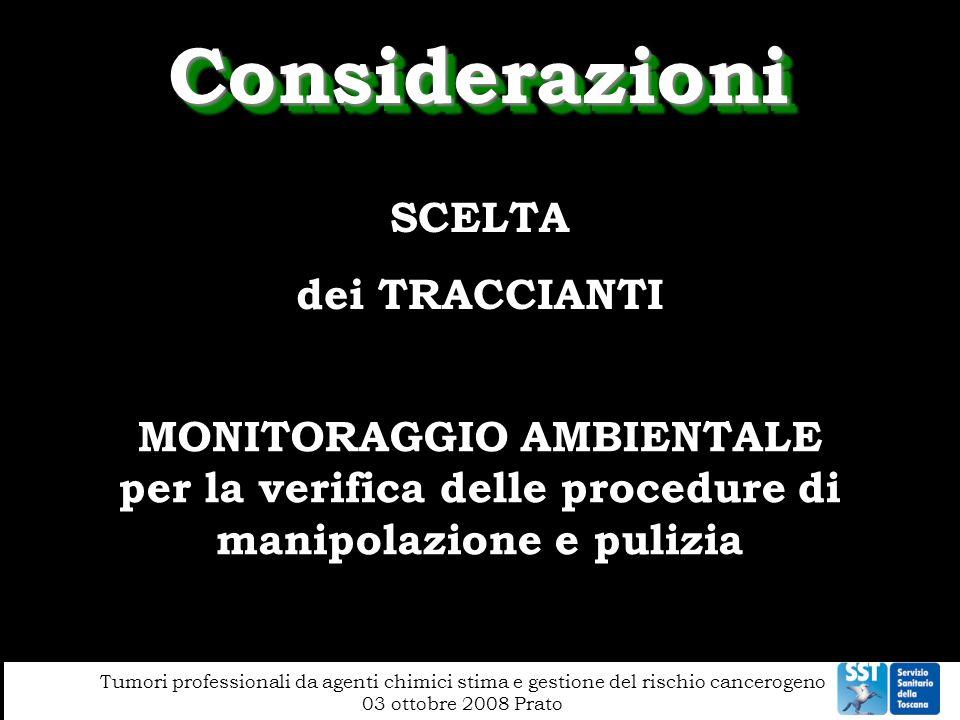 Considerazioni SCELTA dei TRACCIANTI MONITORAGGIO AMBIENTALE