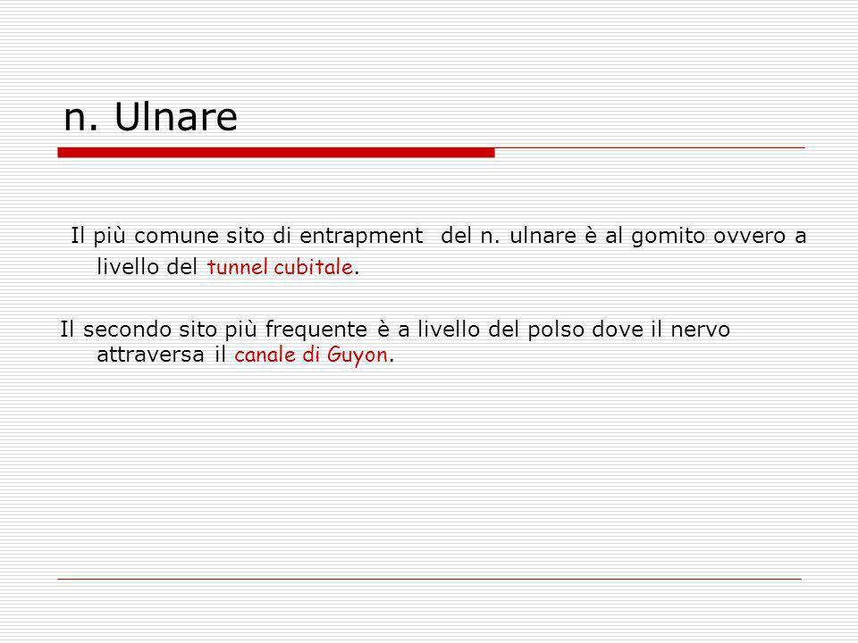 n. Ulnare Il più comune sito di entrapment del n. ulnare è al gomito ovvero a livello del tunnel cubitale.